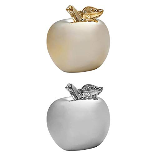 Fenteer Porzellan Deko-Apfel Dekoobst Kunstobst Künstlich Obst Dekoration, Gold + Silber, 2er Pack