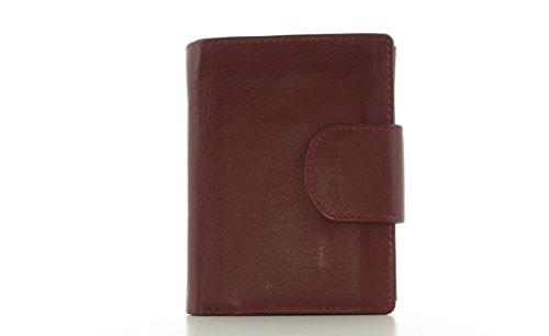 Prato Geldbörse Portemonnaie Kombibörse Scheintasche Geldtasche Brieftasche Leder Rot