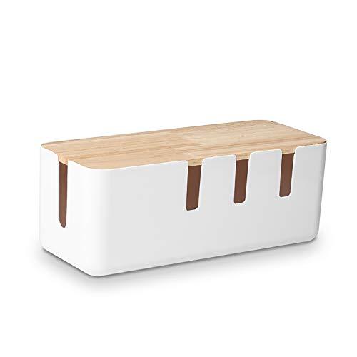 Baskiss - Caja de gestión de cables (30,4 x 12,7 x 11,4 cm), tapa de madera, organizador de cables para escritorio, TV, ordenador, sistema de concentrador USB
