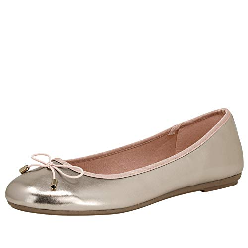 Fitters Footwear That Fits Damen Ballerina Claudia Lederimitat Metallic mit Schleife Übergröße (45 EU, Champagne)