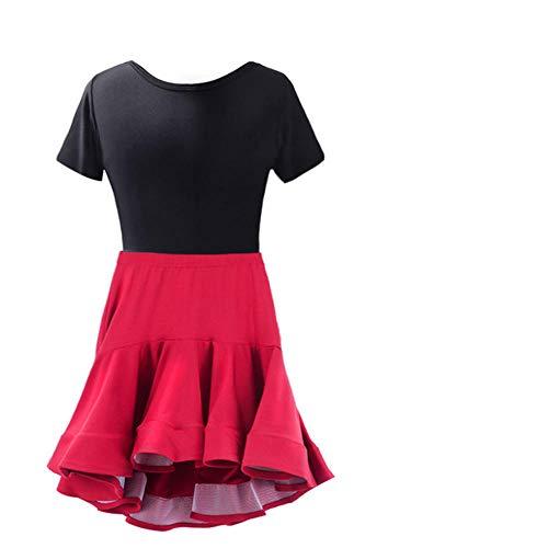 Mädchen Salsa Tango Rumba Latin Tanzkleid Kinder Kinder Ballsaal Tanzkleider Roter Cocktail Meerjungfrau Rock