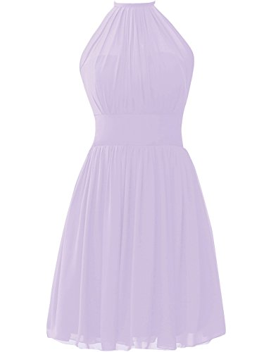 Bridesmaid Dress Short Homecoming Dresses Chiffon Prom Dress Halter Formal Evening Gowns Lavender XS