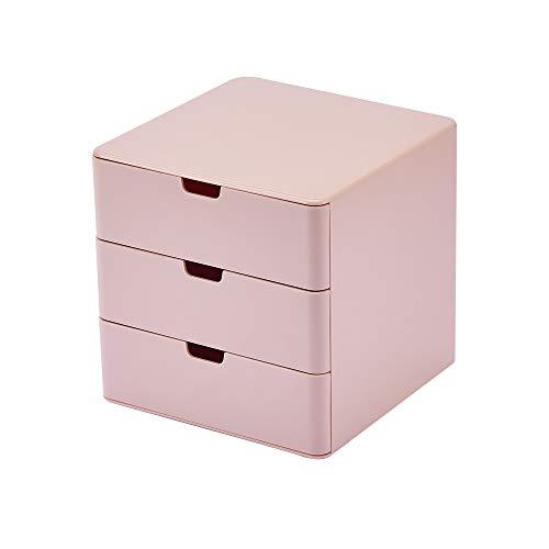 Dalanpa 3-Drawer Vanity Organizer, Compact Storage Organization Drawers Small Size Pink