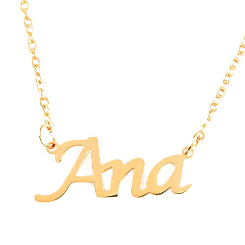 Kigu Ana - Collar con nombre personalizado chapado en oro de 18 quilates, colgante de nombre delicado, joyería para damas, novia, madre, hermana, amigas, bolsa y caja