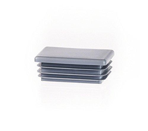 Rechteckstopfen 40x20 mm Grau | 10 Stück | Kunststoff Lamellenstopfen Abdeckkappe