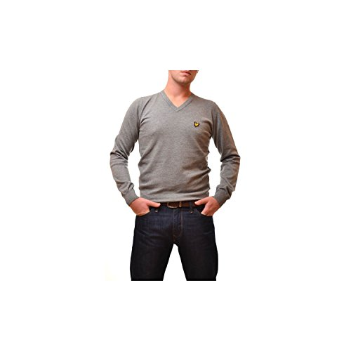 Pull Lyle and Scott Gris col v pour Homme