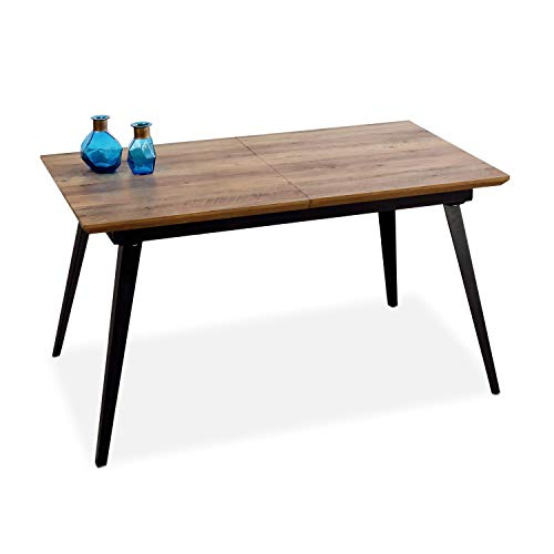 Adec - Branch, Mesa de Comedor, Mesa Salon Extensible Color Nogal y Negro, Medidas: 140-180 cm (Largo) x 80 cm (Ancho) x 77 cm (Alto).