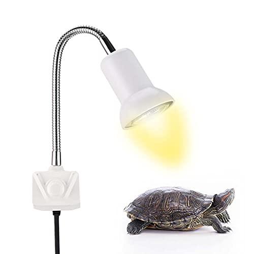Lámpara de calentamiento de tortuga Turtle Sun Sunlight, lámpara de calentamiento de reptiles con regulación de múltiples ángulos de 25 W / 50 W / 75 W, adecuada para iluminación de animales tipo ra