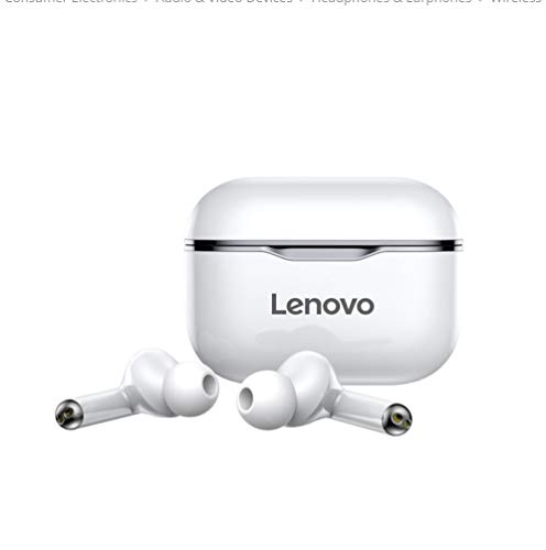 Original Lenovo LP1 TWS Wireless Earphone Bluetooth 5.0 Dual Stereo Earbuds With Mic A Touch Control Long Standby 300mAH IPX4 WATER PROOF headset Noise Reduction Charging Case (White)