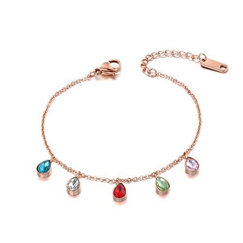 HMANE Pulsera Colorida con Colgante de Cristal CZ con Gota de Agua para Mujer, Cadena de eslabones de Acero Inoxidable, joyería de Playa Bohemia