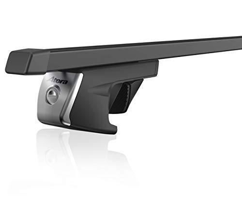 Atera 048110 Signo Relingträger aus verzinktem Stahlrohr und Kunststoffüberzug, Vierkant Tragrohr Profil: 32 x 22 mm, schwarz