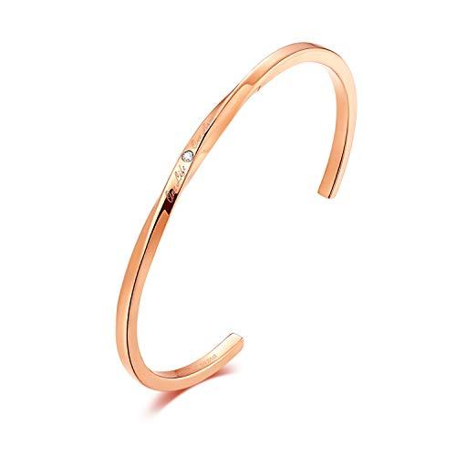 rorolove Echtes Diamant Armband für Frauen Roségold Armreif, Solocute Manschette Torsion Design Schmuck für Geburtstag & Valentinstag