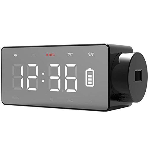XWEM Reloj Despertador de Altavoz Bluetooth, teléfono inalámbrico de Carga electrónica Reloj táctil Inteligente Reloj de proyección TF Tarjeta de Lectura FM Radio Reproductor de música