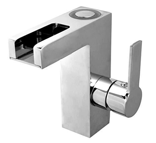 Grifo de lavabo cromado para el baño, monomando, con función LED, alta presión, 19016