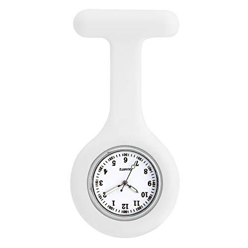 Delicado reloj de manga protectora de silicona blanca para enfermera, práctico punteros luminosos relojes de bolsillo para mujer, acero inoxidable pin colgante reloj para señora