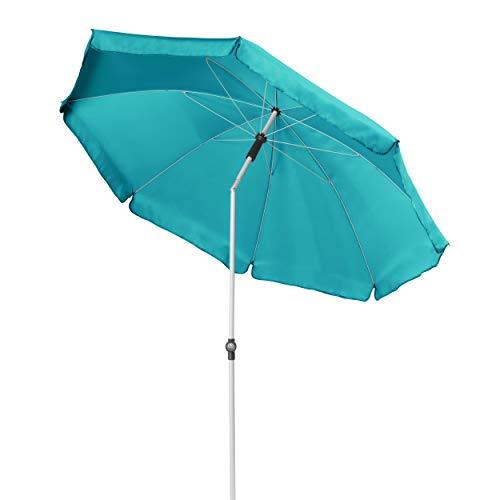 Doppler GS Active ca. 200/8tlg. - Kurbel Sonnenschirm für Balkon oder Garten - Regenabweisend - Knickbar - ca. 200 cm - Türkis