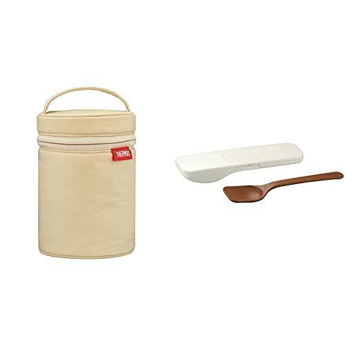 サーモス スープジャーポーチ ベージュ 300~500ml用 RET-001 BE & フードコンテナースプーン ホワイト APC-160 WH【セット買い】