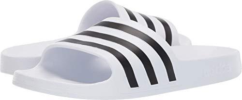 adidas Women's Adilette Aqua Sandal, White/Core Black/White, 8