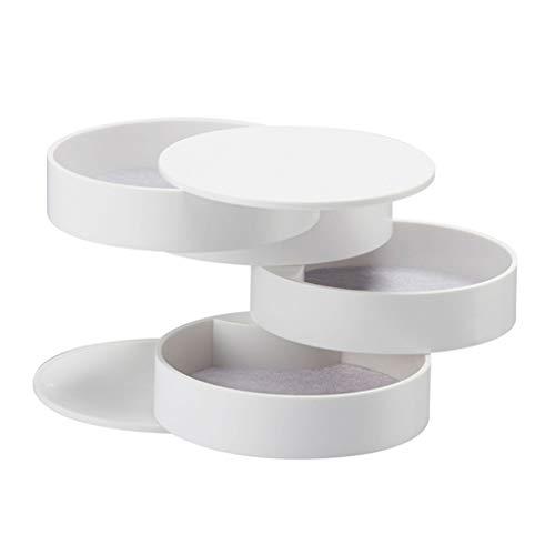 Joyero de almacenamiento giratorio de 4 capas para accesorios de joyería con tapa (blanco)