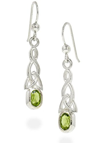 Sterling Silver Celtic Knot and Genuine Peridot Hook Earrings