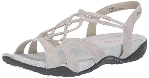 Price comparison product image JSport by Jambu Women's April Encore Flat Sandal Light Grey 7.5 M US