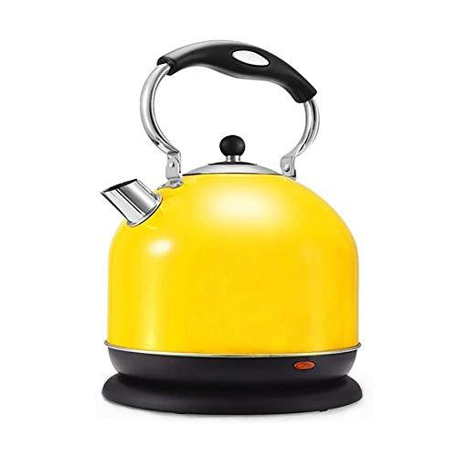 XYY Wasserkocher Edelstahl, 3 Liter pfeifen wasserkocher, 2000 W, kabellos, Kalk-Wasserfilter, Trockenlaufschutz, BPA frei, Wasserstandsanzeige, Gelb