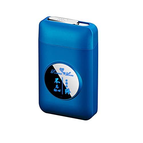 RWXCOW Pitillera con USB recargable Lighters LED Creativo, caja de almacenamiento para mujeres, 2 en 1, soporte para cigarrillos, resistente al viento, mechero eléctrico, diseño de cumpleaños