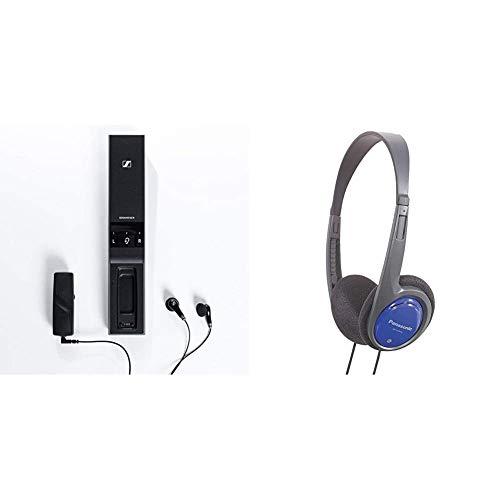 Sennheiser Flex 5000 TV Hörverstärker - auch für die eigenen Kopfhörer & Panasonic RP-HT010E-A Bügelkopfhörer (1,2m Kabellänge; Kopfhörer Klinkenstecker; geringes Gewicht) blau