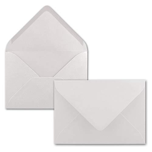 50x Brief-Umschläge Format B6 - Natur-Weiß- 12 x 17,5 cm - Nassklebung mit spitzer Klappe - 110 g/m² - Einladungs-Kuverts