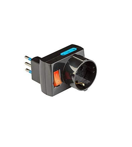 Poly Pool PP2380.1 Adattatore Salvaspazio Spina 10 A Piccola con 3 Prese Fuori ASSE E Interruttore Luminoso Nero