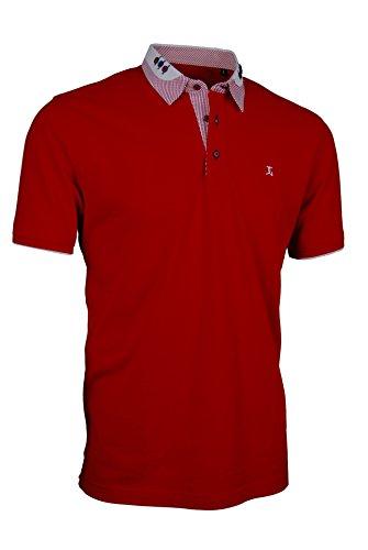 Premium-Poloshirt von Giorgio Capone, einzigartiger Hemdkragen, Pique-Stoff 100% Baumwolle, rot, Regular Fit (XL)