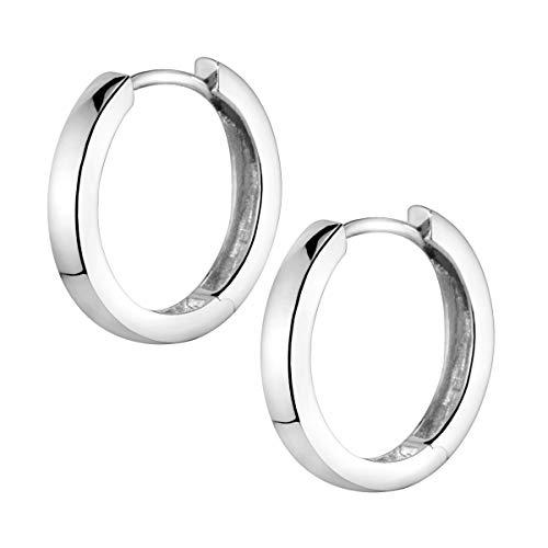 MATERIA Ohrringe Creolen Silber 925 klein - Silbercreolen 17mm nickelfrei für Damen Kinder mit Etui SO-358-Silber