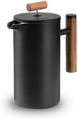 Lambda Coffee French Press aus Edelstahl und Holz | 1 Liter (5 Tassen, groß) | für den perfekten Kaffee | Kaffeebereiter doppelwandig Thermo | manuelle Kaffeemaschine und Kaffeepresse schwarz