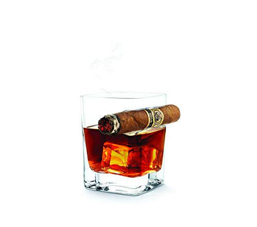Double Old Fashioned Glass w/ Cigar Rest