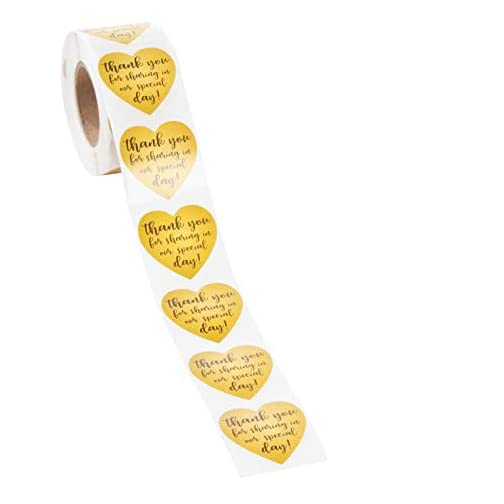 Thank You Stickers - 500-Count Wedding Favor Sticker Labels, Thank You for Sharing in Our Special Day Stickers, Heart… |