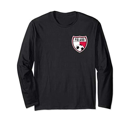 Poland Soccer Jersey Pocket Polish Flag Long Sleeve T-Shirt