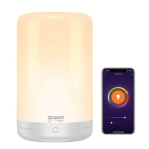 Smart Table Lamp, Gosund WiFi Touch Bedside Lamp Works with Alexa Google Home for Bedrooms, Dimmable Warm White and Color Changing RGB LED Nightstand Lamp Night Light, Schedule and Timer