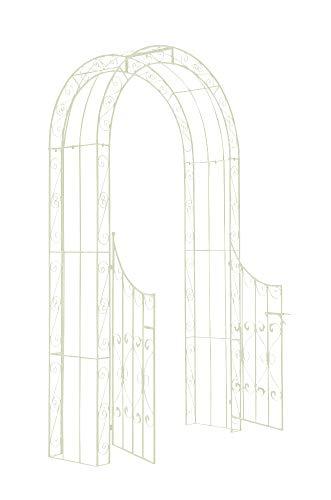 CLP Arche de Jardin avec Portillon Sina - Arceau de Jardin Romantique en Fer Forgé - Support pour Plantes Grimpantes avec Porte Style Shabby-Chic - Couleur :, Couleurs:Antique crème