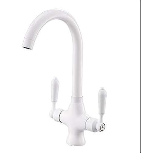 Wasserhahn Bade Farbe Weiße Keramik Doppelgriff Einlochküche Spülbecken Waschschüssel Spüle Heißem Und Kaltem Wasserhahn.