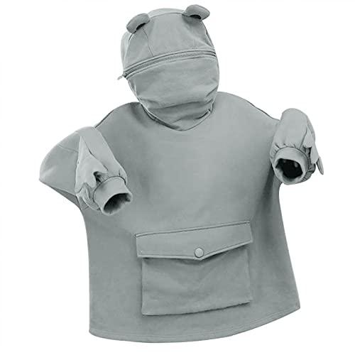 Sweatshirts Women, VISLINDU Women Hoodies Tops Frog Printed Long Sleeve Cute Pullover Sweatshirts with Pocket Gray