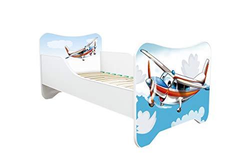 Cama infantil con colchón de 160 x 80 – 30 diseños (avión)