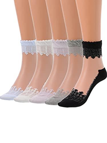 IYOU Women's Durchsichtige Knöchel Socken Nackt Spitze Transparent Mesh Socken Sommer Draußen Durchsichtige Socken für Frauen und Mädchen (5 Paare)
