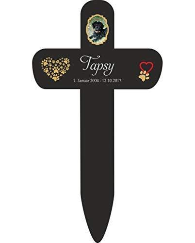 Livingstyle & Wanddesign Personalisiertes Grabkreuz fürs Haustier, mit Foto und Pfotenherz 8 in Schwarz, klein 25 x 13,5 cm