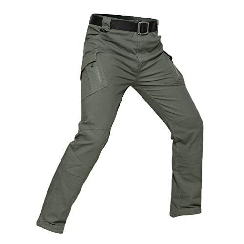 YuanDian Hombre Tactico Camuflaje Pantalon Multi-Bolsillo Outdoor Caminar Combate Pantalon Trekking Alpinismo Caza Camping Senderismo Militar Camo Cargo Pantalones Verde L