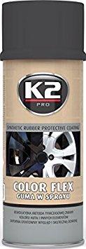 K2 Color flex Sprühdose, Sprühfolie, Sprühgummi, Flüssiggummi, ideal für Metall, Alu, Holz, Glas und Kunststoff, kann wieder entfernt werden, schwarz-matt, 400ml
