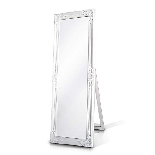 Madera sólida - Shabby Chic Espejo Largo - Grande - 130 x 45 cm - Montado en la Pared o parado con su Pie - Blanco