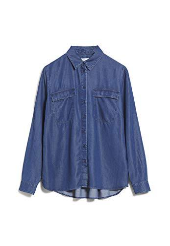 ARMEDANGELS MIHKAA - Damen Bluse aus Tencel™ Lyocell Mix XS Basic Denim Blue Bluse Langarm Relaxed Fit