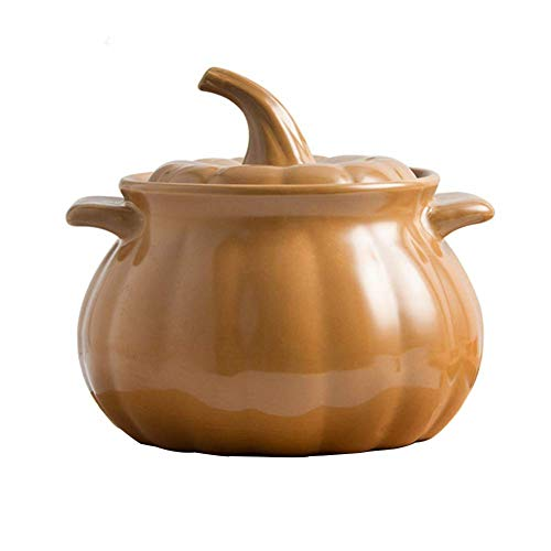 weiwei Ceramics Casserole Dish Pumpkin with Tough Enamel Coating,Induction and Gas Safe Dutch Oven Roasting Cooker,Best Gifts for Family pepelo-12.4 15cm
