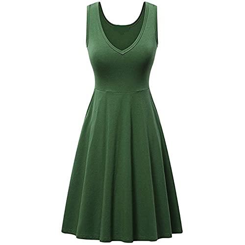 PangkII - Vestido largo para mujer, sin mangas, diseño de rayas verde XXXL