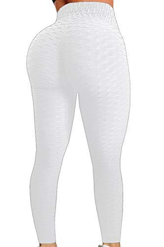 Pau1Hami1ton Leggins Mujer, Mallas Fitness Push Up Pantalones Deporte Running Yoga GP-11(White,2XL)